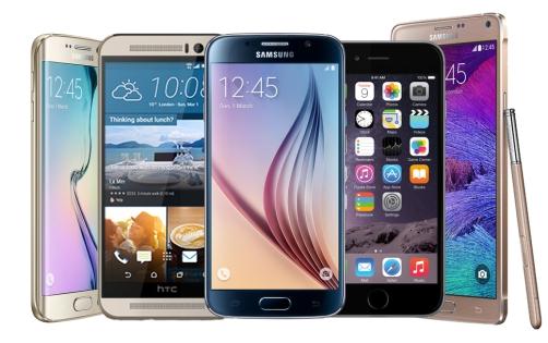 Popular smartphones from 2015.